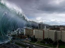 tsunami hitting buildings