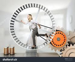 woman hanster wheel