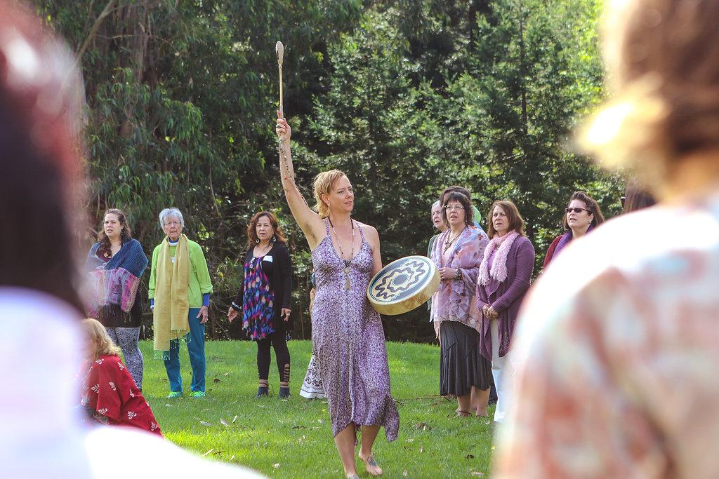 Amanda leading circle outdoors