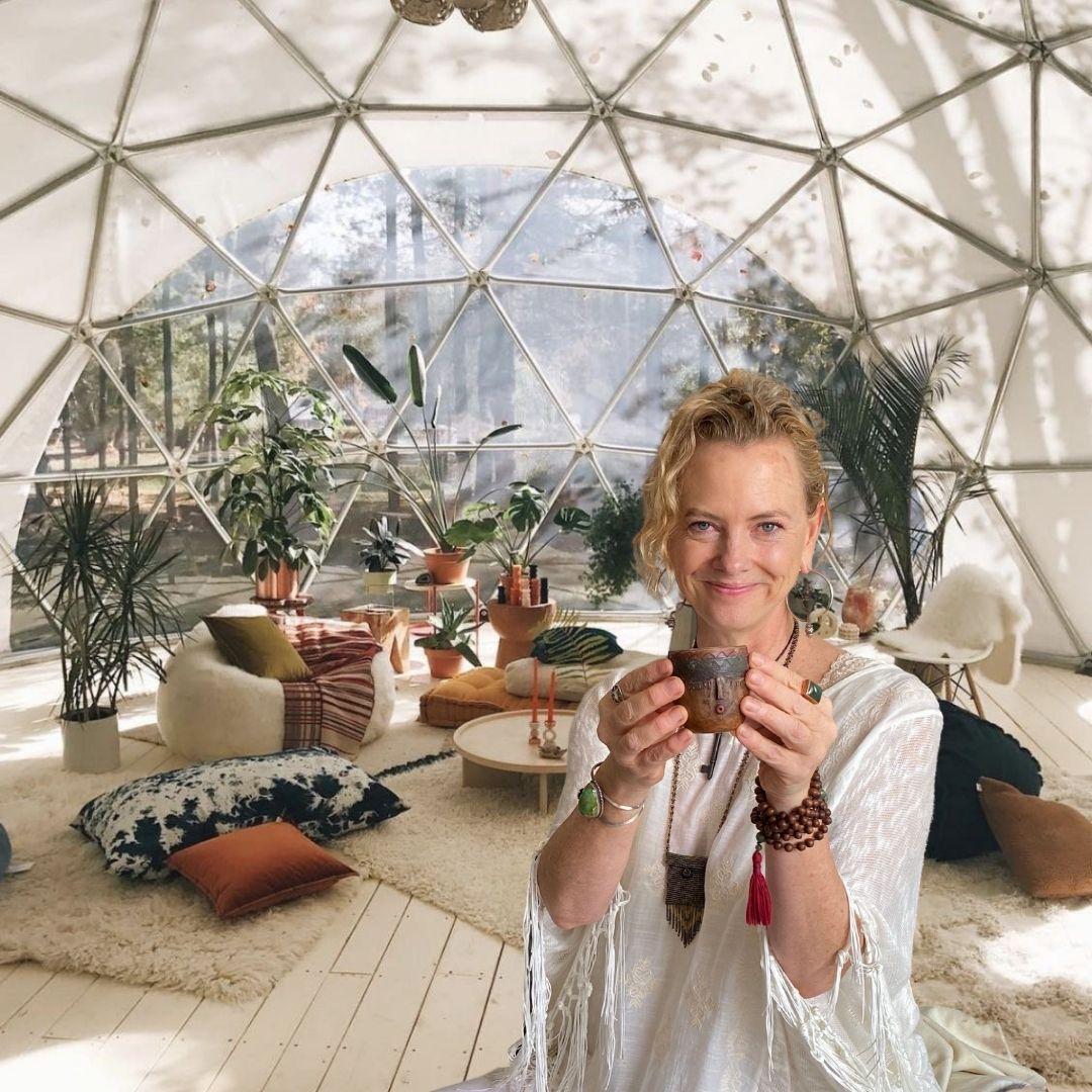 Amanda serving medicine ceremony dome